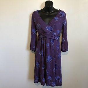 Boden Purple Edie Dandelion Print Dress 8R